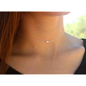 Silber maßgeschneiderte Länge Kristall winzigen Choker einfache kurze Halskette