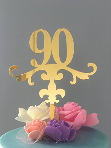 ShinyBeauty 90 Cake Topper - fünfundneunzig Geburtstag - 90. Geburtstag-Smash Cake Topper-Gold Glitter Cake Topper-Geburtstag (Liste Disney Aller Prinzessinnen)