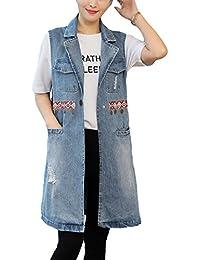QitunC Mujer Roto Vaquero Chaleco Largos Impresión Suelto Solapa Sin Manga  Denim Chaqueta Tamaño Grande Aspicture 9ae91a431db0