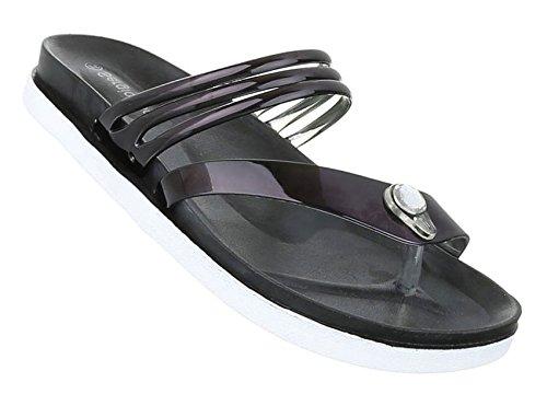Damen Sandalen Schuhe Strandschuhe Sommerschuhe Zehentrenner Schwarz
