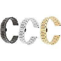 Dolity 22mm Armbanduhr Band Luxus Edelstahl Verschluss Ersatz - 3 Stücke (Silber + Gold + Schwarz)