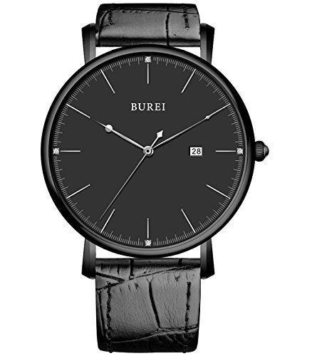 BUREI® Unisex Ultra-mince élégant Montre classique en quartz avec bande en cuir de veau noir, cadran noir