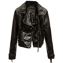 Giacca Corta da Donna Chiodo in Vera Pelle Stile Biker Rock Vintage con Zip 50ebb216e41