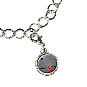 African Grey - Bird Parrot Pet Silver Plated Bracelet with Antiqued Charm