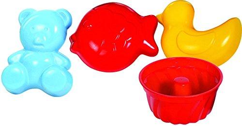 Gowi 558-51 Sandform Sven, Sandkästen und Sandspielzeug, 4-er Set im Netz farbig sortiert