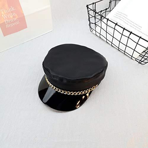 NYJNN Hip-Hop-Hut Hut Frauen Herbst Winter koreanischen Stil Leder Entenschnabel Hut Kette Mode Baskenmütze