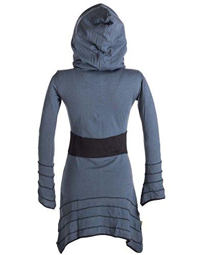 Vishes - Alternative Bekleidung - Patchwork Zipfelkleid mit Kapuzenschlauch Grau