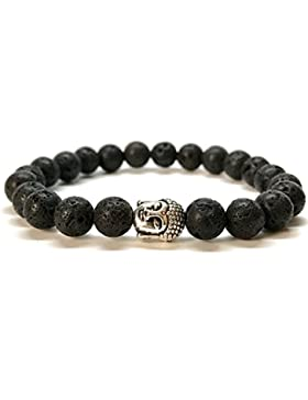 GOOD.designs Buddhismus Perlenarmband aus echten Natursteinen und edler Buddha-Kopf Perle, Chakra-Schmuck für...