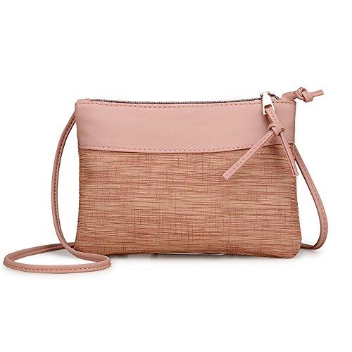 DAY.LIN Frau Weinlese Umhängetasche Frauen Retro Tasche Schultertasche Messenger Bags Tote Handtasche (Rosa)