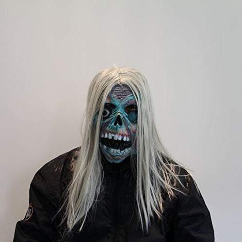 Rwdacfs Halloween mask,Halloween Club Carnival Party White Hair Blue face Skull Fabric Set Latex mask