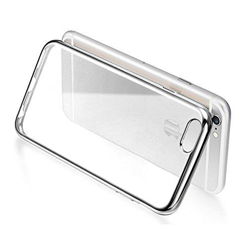 iPhone SE Hülle,iPhone 5S Hülle,iPhone 5 Hülle,iPhone SE 5S 5 Hülle,ikasus® iPhone SE Silikon Hülle [Kristallklar Durchsichtig],Crystal Clear Stoßdämpfend Überzug Rahmen Transparent TPU Silikon Schutz Klar:Silber