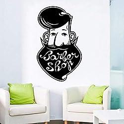 shiyusheng Vinyle Art Amovible Décoration pour Barbershop Sticker Mural Barber Shop Autocollant Mural Salon De Beauté Affiche Murale57X95CM