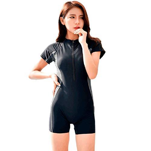 BIKINI FOCLASSY Schwimmkostüm Damen Sport BIKINI Badeanzug Einteilige Kurze Ärmel Plus Größe Zip Front Push Up Bademode mit Chest Pad-81103 (Schwarz, L/ ()