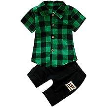 Conjuntos bebé Niño ❤ Amlaiworld Camisas Camiseta infantil a cuadros de bebé niño Tops +