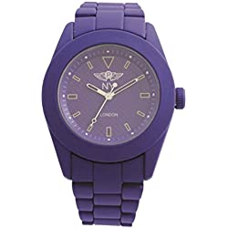NY London Unisex Purple Rubberised Metal Watch Patterned Face Analog Quartz Z Clasp Extra Battery