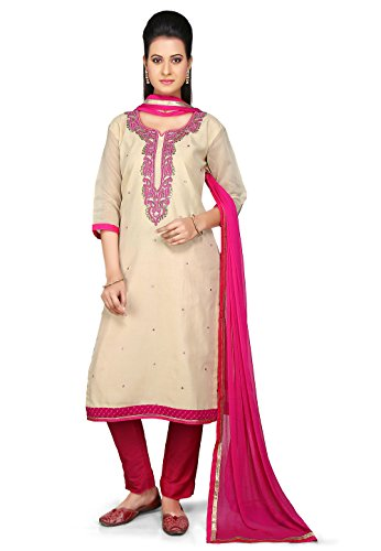Utsav Fashion Embroidered Straight Cut Chanderi Cotton Suit in Beige Colour