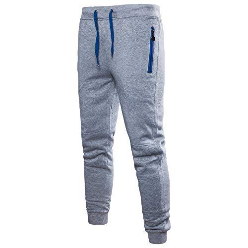 Jiameng pantaloni da uomo, pantaloni da allenamento a tinta unita da uomo tuta da taschino di puro colore pantalone per casual da lavoro sportivo tascabile (l,grigio)