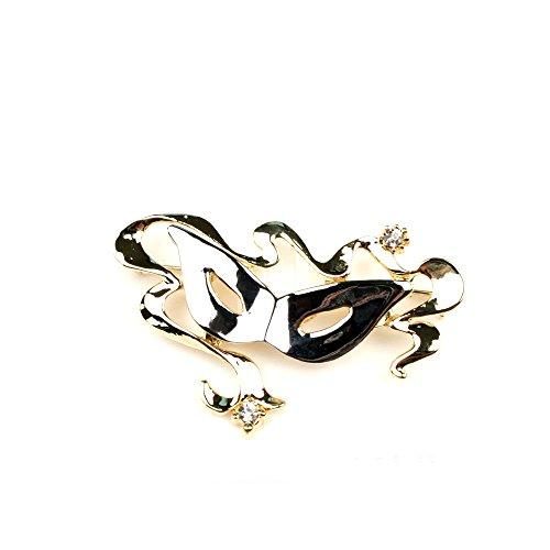 Brosche mit venezianischer Maske in gold und silber -