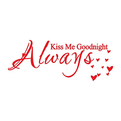 Art Sticker Vinyl Decal Mural,Sunyoyo Always Kiss Me Goodnight Removable Artwork Wall Stickers Waterproof Bedroom Home Decoration (Red)