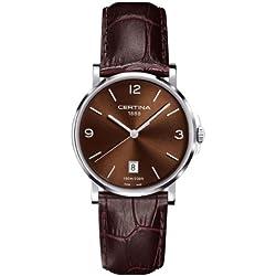 Certina C017.410.16.297.00 - Reloj para hombres, correa de cuero color marrón