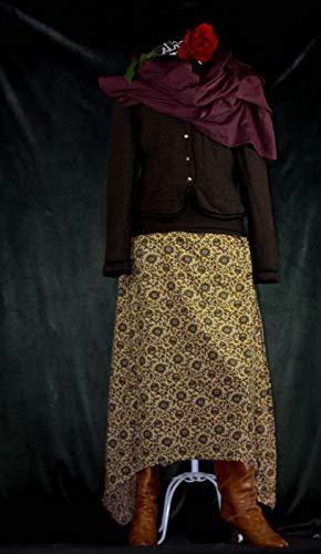 Femininer Maxi Rock, Handdruck von Kalima - Womens Designer Baumwolle Rock