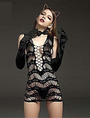 Kostüm Sexy Ultra - SINYUEE Weibliche Gartenwäsche/Ultra Sexy/Teddy Nightwear - Mesh, Cosplay Kostüme Solid Colored Black XL XXL XXXL, Schwarz,XXL