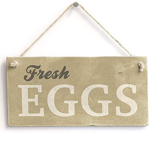 jkcm99 Holzschild mit frischen Eiern, handgefertigt, rustikales Landhaus