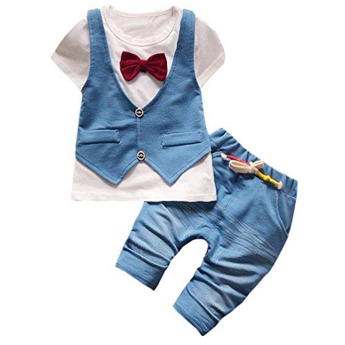 JYJM Kinder Kleinkind Baby Jungen Handsome T-Shirt Tops Weste Hosen Kleider Outfits Set (1 bis 3 Jahre alt) (Größe:1 Jahr alt, Weiß)