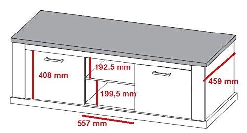trendteam Wohnzimmer Lowboard Fernsehschrank Fernsehtisch Toronto, 160 x 60 x 52 cm in Korpus Pinie Weiß, Absetzung Nussbaum Satin (Nb.) im Landhausstil