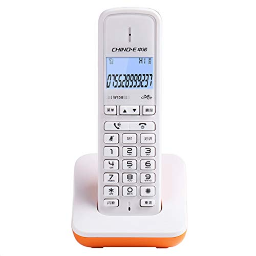 HQCC Teléfono inalámbrico Digital/Office Deskphone Pantalla LED Ajuste de Volumen del dial de un Solo Toque Identificación de Llamada (Color : Orange)