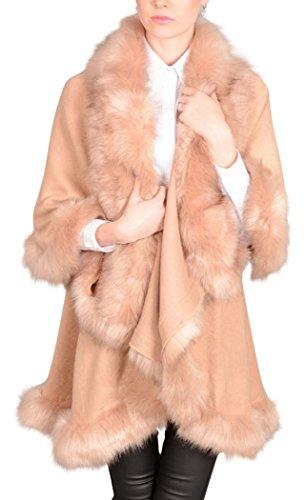 Mantella a doppio strato con lana soffice e finta pelliccia Pink