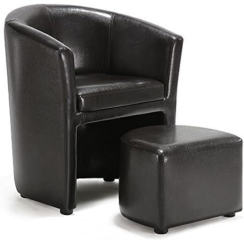 IKAYAA Cuoio Sedia del Barilotto Idromassaggio Poltrona con Poggiapiedi Accento Club Chair Living Room Furniture