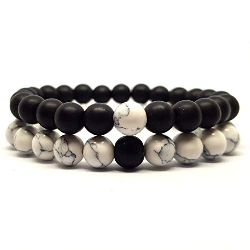 KARDINAL.WEIST Naturstein Perlenarmband aus Onyx mit Howlith Perle, Yin Yang Armband, Chakra Schmuck für Damen und Herren, Yoga Armband (2 - Partnerarmband)