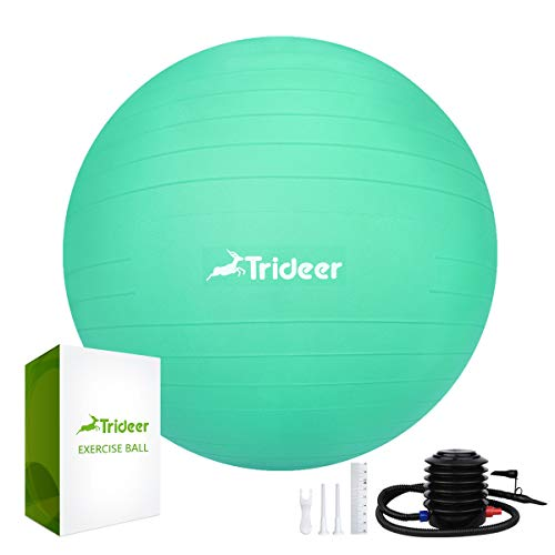 Trideer 45-85cm Exercise Ball (11 Colors), Birthing Ball, Ball Chair, Yoga Pilate Balance Ball with Pump, Anti-Slip & Anti-Burst, 2000lbs Extra Thick Core Cross Training Ball for Office And Home…