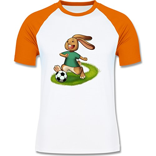 Shirtracer Fußball - Fußball Hase - Herren Baseball Shirt Weiß/Orange