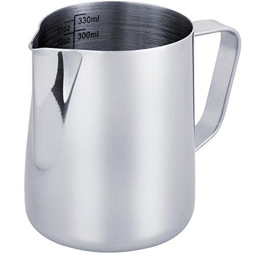 Anpro Milchkännchen, Milk Pitcher 350ml / 12 fl.oz. Milchkanne aus Edelstahl, Milch Aufschäumen für Cappuccino und Latté, Silber (9 × 7.5CM)