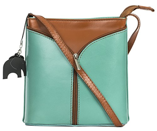 Big Handbag Shop Borsetta piccola a tracolla, vera pelle italiana Green (Sea) - Tan Trim