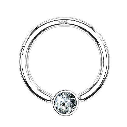 Piercingfaktor BCR Piercing Klemmring Ring 585er Gold 14 KT mit Kristall Septum Helix Ohr Tragus Intim Intimpiercing 1,2mm x 6mm x 3mm Weißgold