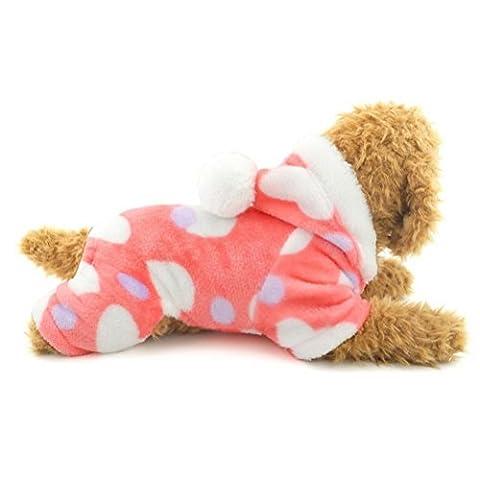 Zunea Petit Chien Chat Vêtements pour Winter Love Hearts en velours Manteau à capuche avec pantalon Rose