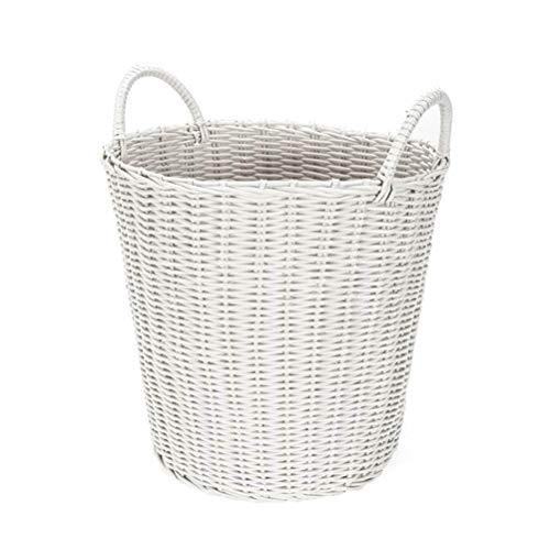 HAN NAA Runder Wäschekorb-Aufbewahrungskorb, nachgemachtes Rattan pp. Plastikwaschkorb, Mehrzweckspielzeug-Kleidungs-Aufbewahrungsbehälter