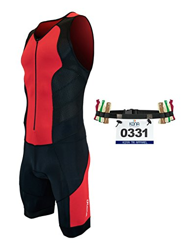 Kona Tri Apparel Kona II Herren-Triathlon-Anzug, ärmellos, Speedsuit Skinsuit 2014mit Aufbewahrungsfach und Bonus Race Lätzchen Gürtel, Rot/Schwarz, Medium