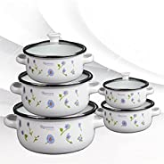 TWDYC Household Enamel Pot Five-piece Flower Thickened Flat Bottom Double Ear Soup Pot Combustible Gas Inducti