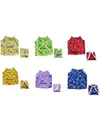 Cloudaby New Born Baby Boy's & Baby Girl's Summer Wear Aline Tying Cotton 2 Jhabla/Daily Wear Dress with 2 Matching Nappies(0 to 3 Months) Multicolor and Prints