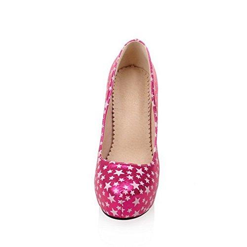 AllhqFashion Damen Pu Leder Gemischte Farbe Ziehen Auf Rund Zehe Hoher Absatz Pumps Schuhe Rosa