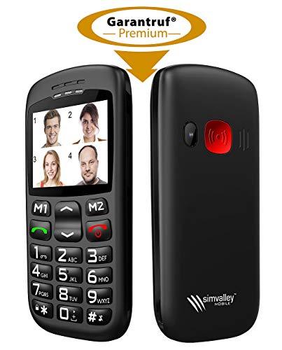 simvalley MOBILE Komfort Handy: Komforthandy mit Bluetooth, Garantruf, Foto-Kontakten und Ladestation (Nottelefon)