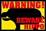 ZERBINO WARNING BEWARE HIPPO CM. 60x50 TAPPETO FELTROGOMMA ASCIUGA SPORCO