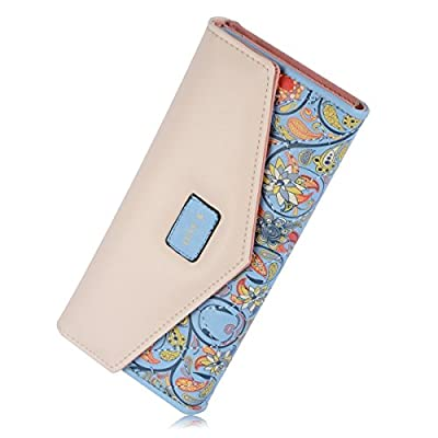 Womens Envelope Purse Flower Print Trifold Fit For Iphone6s Bag