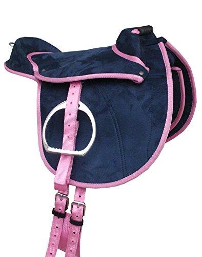 Amesbichler 'Pony Shetty Color Azul Oscuro/rosa, 12Asiento | Niños Pony Sillín Set Completo también para madera Caballos Adecuado | Cub Saddle Juego | Selle Poney Junior