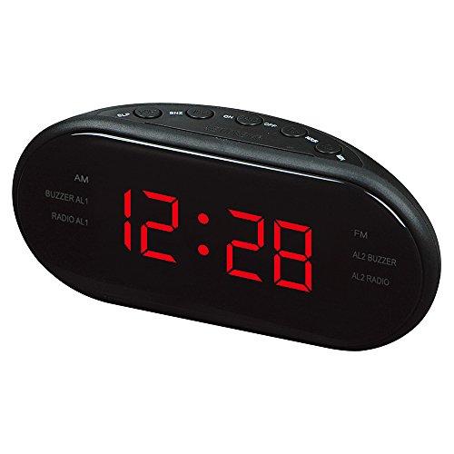 Radio Despertadores Digitales con Dual Alarmas, Reloj Despertador Electrico con Radio FM/AM, Función del Snooze, Volumen Regulable, Respaldo de Pilas, Gran Pantalla LED