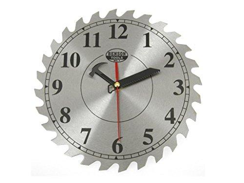 DKB-Tools-Germany Wanduhr Kreissägeblatt Uhr Sägeblatt Werkstattuhr 250 mm aus Metall